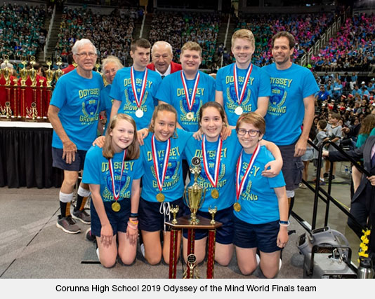 Corunna High School 2019 Odyssey of the Mind World Finals team