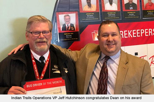 Indian Trails Operations VP Jeff Hutchinson congratulates Dean on his award