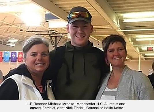 Teacher Michelle Mrocko, Ferris student Nick Tindall, Couselor Hollie Kolcz
