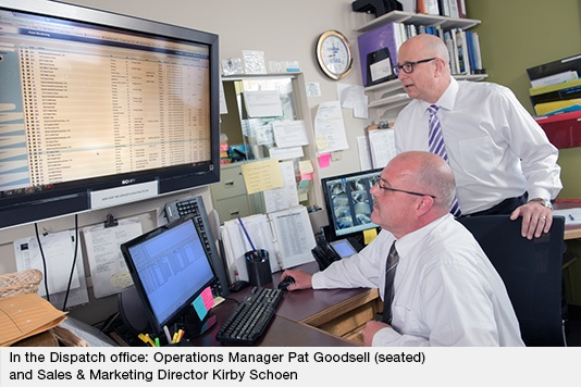 Sales & Marketing Director Kirby Schoen and Operations Manager Pat Goodsell In the Dispatch office