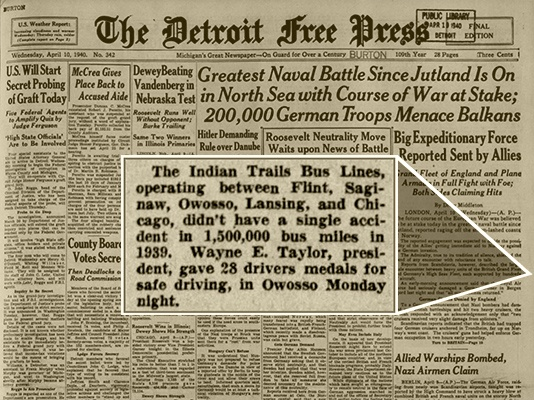 Detroit Free Press clipping on Indian Trails safety