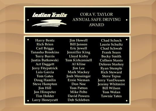 Cora V. Taylor Annual Safe Driving Award