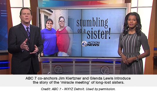 ABC 7 co-anchors Jim Kiertzner and Glenda Lewis introduce the story of the 'miracle meeting' of long-lost sisters.