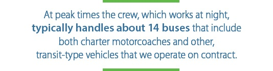 At peak times the crew handles about 14 buses.